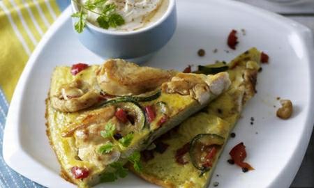 omeleta s kurecim masem a zeleninou
